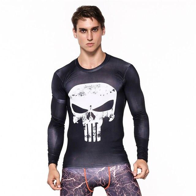b63e46b09b Mens de Fitness 3D Imprime Camiseta de Mangas Compridas Homens Musculação  Pele Apertado Secagem rápida Camisas