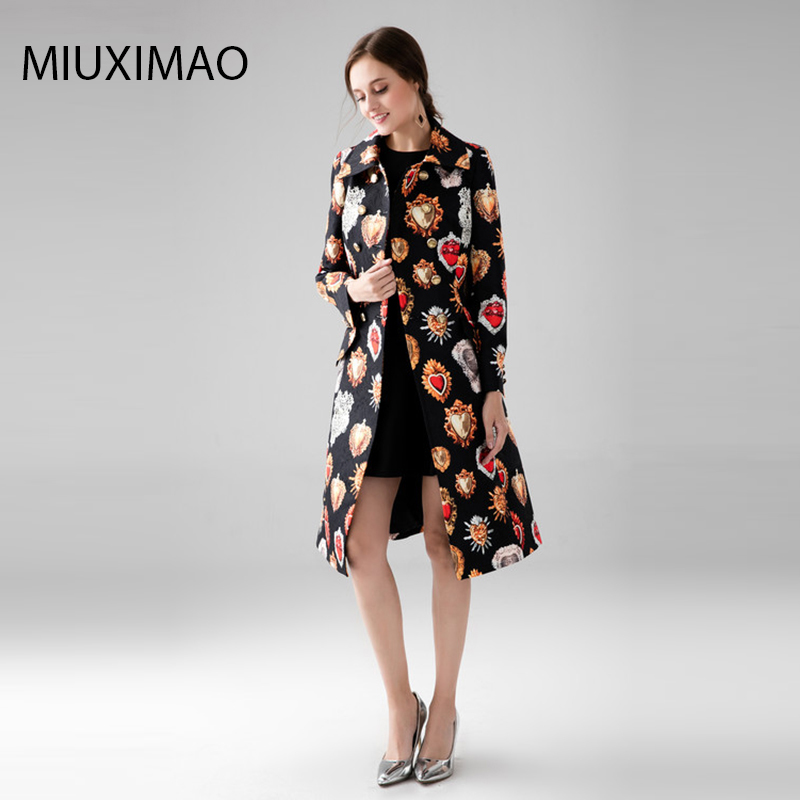 Custom Plus Size Dress High Quality Long Coat Women Full Sleeve Elegant Double Breasted Black Heart gemstone Vintage Coat Women