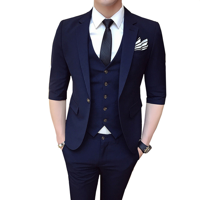 c479d49c4 US $52.98 30% OFF|2018 fashion half sleeve men suits slim fit good quality  male designer Solid Color Single buckle clothes casual 3 pieces set-in ...