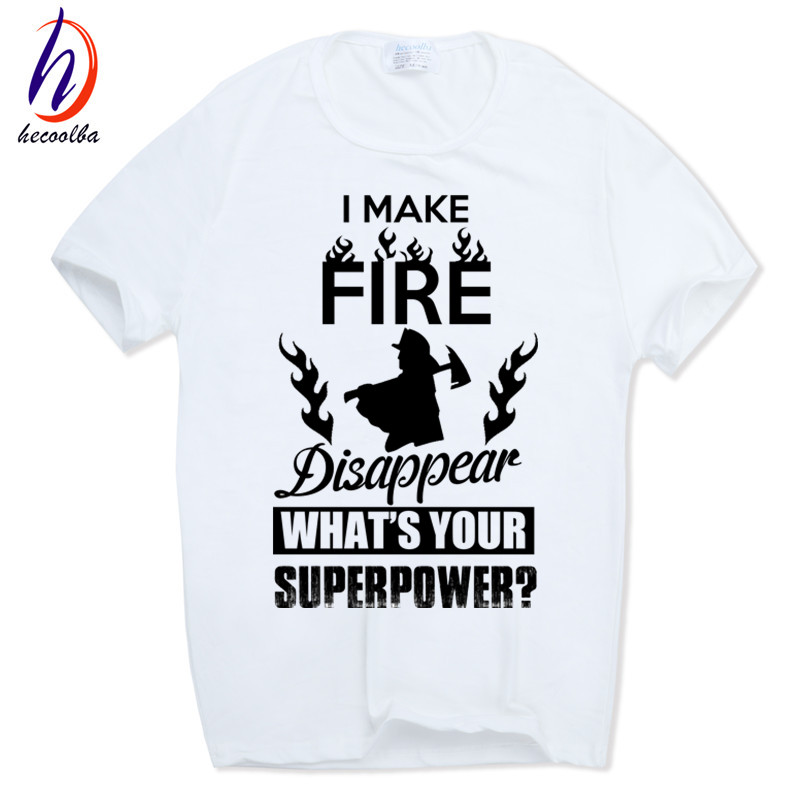 Men's prient Fireman Gift Firefighter white funny interesting T-shirt Short sleeve O-Neck Camisetas Tshirt HCP405