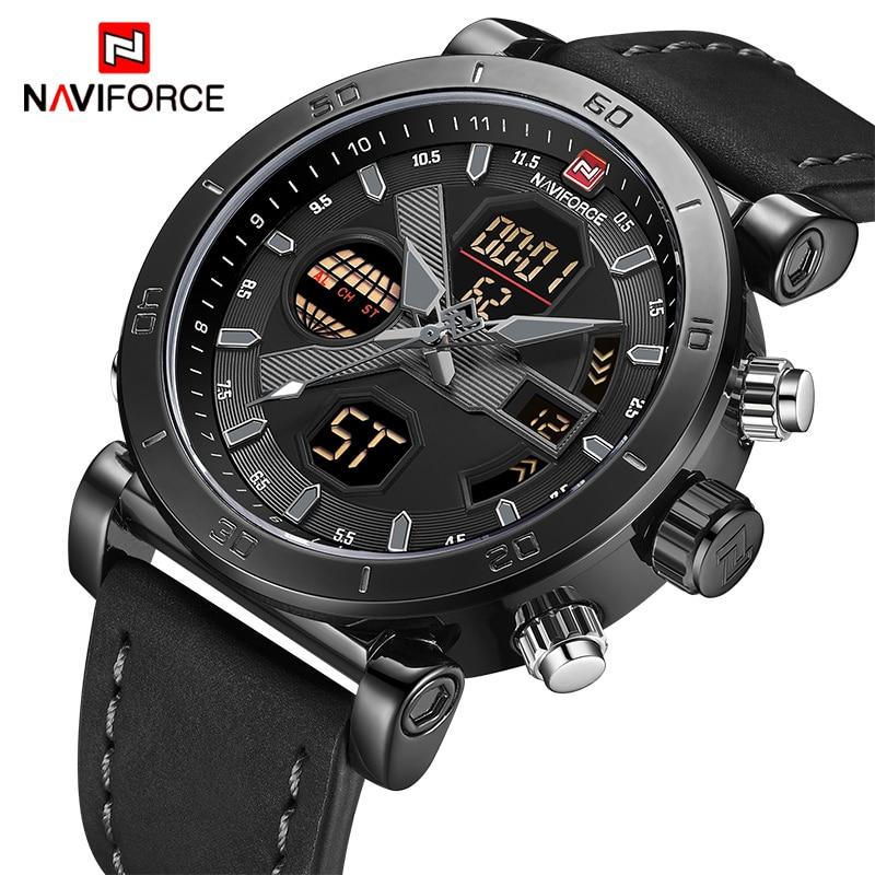 NAVIFORCE TOP Luxury Brand Sport Watches Men Leather Waterproof Army Military Digital Quartz Analog Wrist Watch Man Clock