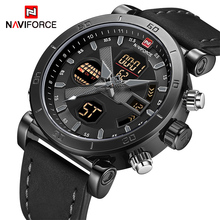 NAVIFORCE TOP Luxury Brand Sport Watches Men Leather Waterproof Army Military Di