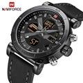 NAVIFORCE TOP Luxus Marke Sport Uhren Männer Leder Wasserdicht Armee Military Digital Quarz Analog Armbanduhr Mann Uhr