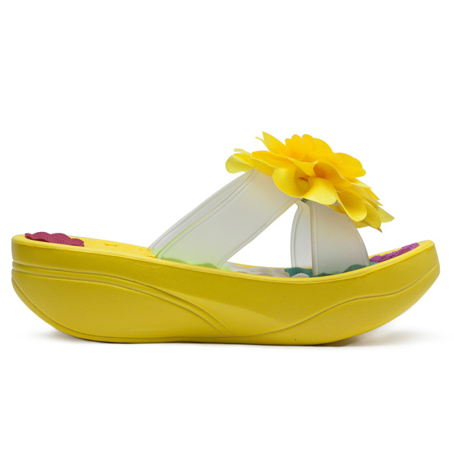Female Slippers Flower Platform Wedges