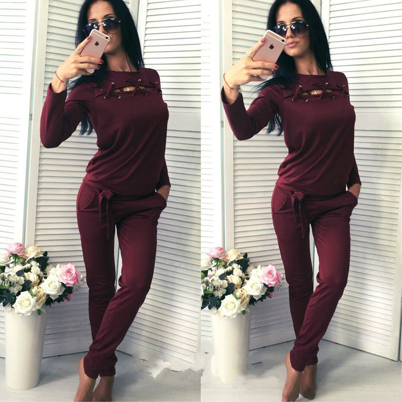 CFYH 2018 Fashion Bandage Casual Hoodies Long Sleeve +Long Pants Suit Clothing Two Piece Set Women Tracksuit Suit