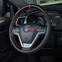 Steering Wheel Cover With Needles And Thread Leather Fit For Toyota Highlander 2015 2017 2018