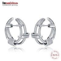 LZESHINE Luxury 925 Sterling Silver Designer Earrings For Women Wedding Charms Jewelry Cubic Zircon Earrings Stud