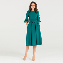 2018 Women Fashion Vintage Dress Green O-neck Elegant A Line Puff Sleeve Vestidos Party Fall vestidos