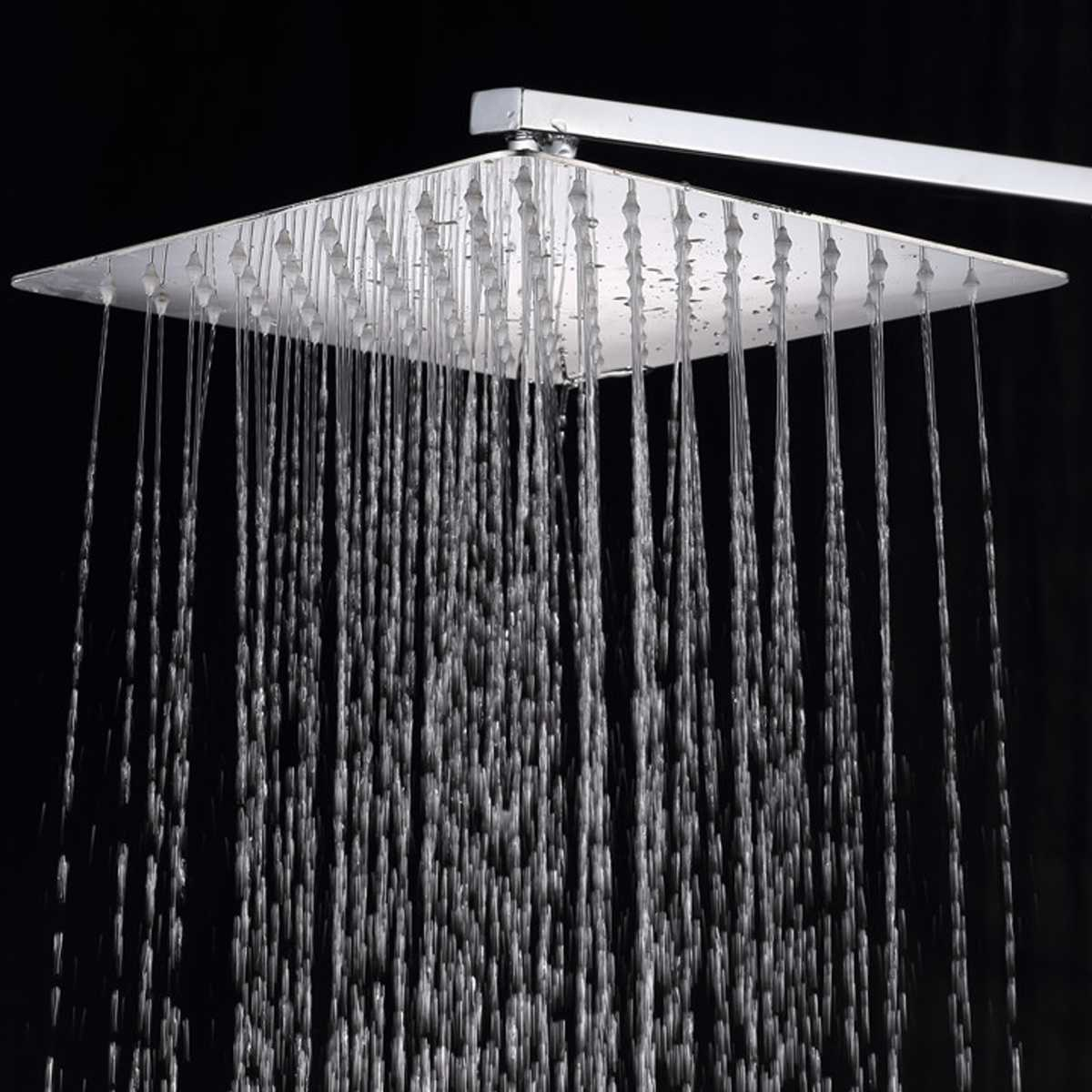12 Inch Stainless Steel Shower Head Square Or Round Top Rainfall Head Shower Chromed Mirror Shower Faucet For Bathroom