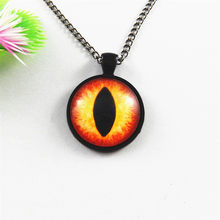 4pc/lot Creative Chain Necklace Round Bright Dragon Eye of Horus Bronze Jewelry 25mm Charm Jewelry Fashion Women Gifts GR-157(China)