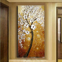 Handpainted Abstract Flowers Oil Painting on Canvas Home Decor Wall Art Knife White Floral Pictures Large Paintings For Corridor