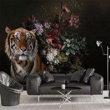 Black hand-painted lily tiger bedroom Nordic background wall professional production mural wallpaper custom poster photo wall цена