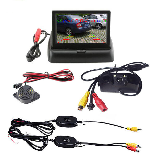 Free Shipping 3 in 1 Wireless Car Reverse Backup Camera Radar Detector System 4.3 LCD Rearview Monitor For Vehicle Bus 7 tft lcd color monitor car rearview camera monitor video reverse camera backup reverse monitor system free shipping