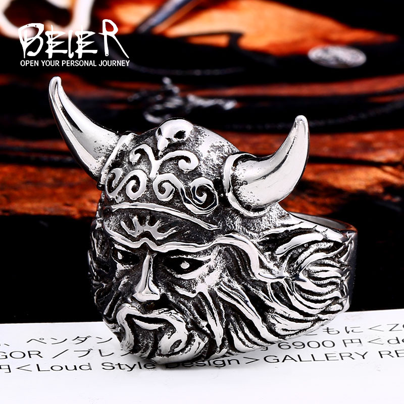 BEIER 316L stainless steel nose Vikings Odin 's Symbol man ring scandinavian Myth jewelry Amulet Vintage LLSMR005R(China)