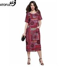 Atoful vendimia suelta Vestidos mujeres multicolor impresión 2017 verano otoño patrón Vestido de manga corta más tamaño 4xl 5xl vestido