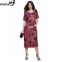 ATOFUL 2017 Summer Autumn Pattern Dress Vintage Multicolor Print Loose Casual Dresses Short Sleeve Plus Size