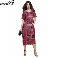 ATOFUL 2017 Summer Autumn Pattern Dress Vintage Multicolor Print Loose Casual Dresses Short Sleeve Plus Size