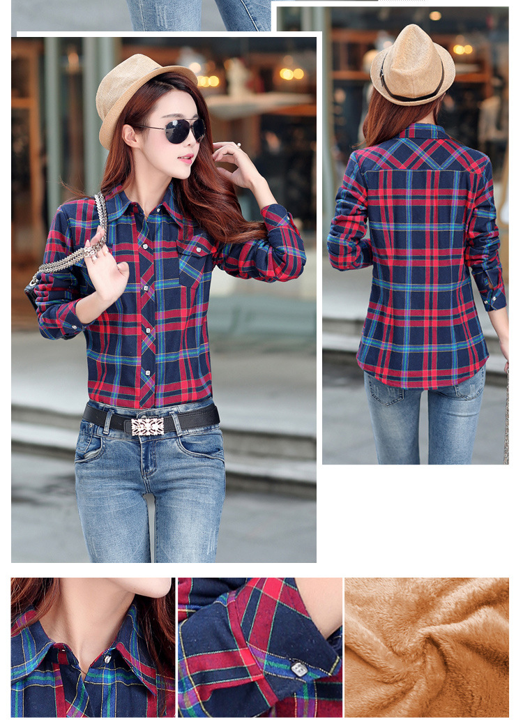 19 Brand New Winter Warm Women Velvet Thicker Jacket Plaid Shirt Style Coat Female College Style Casual Jacket Outerwear 25