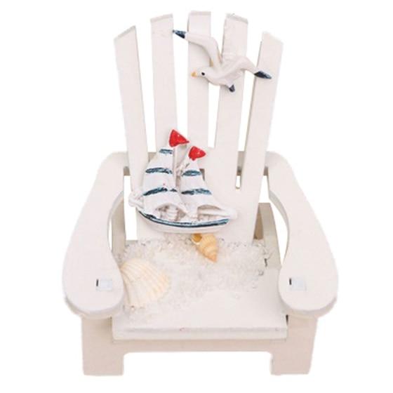 Mini Fairy White Wooden Chair Dollhouse Garden Home Sea Beach Decor,white