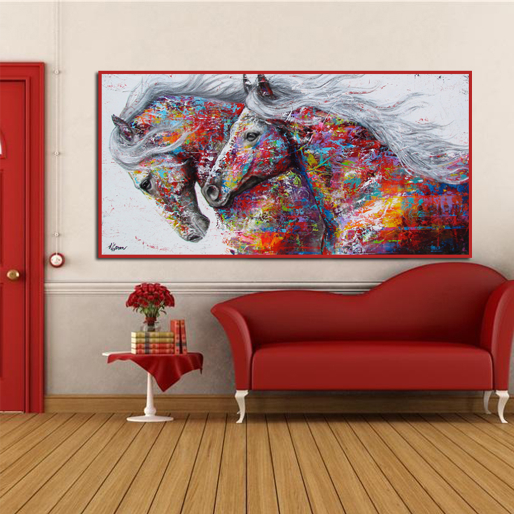 DIY frame 3 Horses Running Wild Natural Animal Art Silk Fabric Wall ...