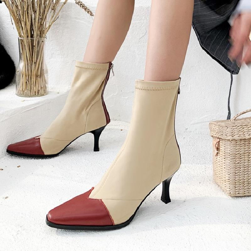2018 Woman Boots Square Toe Woman Shoes High Thin Heels Back Zipper Mixed Color Sock Boots Stretch Fabric Shoes Ankle Booties