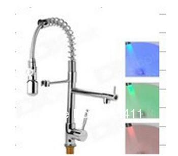 High quality 100% brass.3 Color Automatic Change led faucet kitchen.pull out spring kitchen sink spray taps.size:50cm