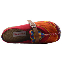 Colorful Rainbow Women Casual Linen Knitted Handmade Mules Slippers (3 colors)