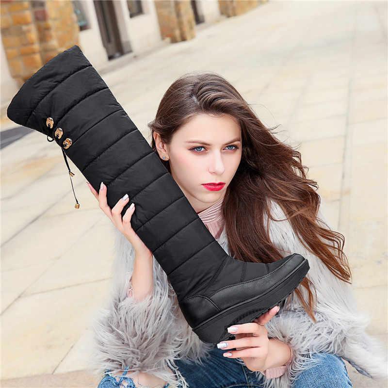 ASUMER 2020 Pamuk moda su geçirmez kar botları kadın diz çizmeler üzerinde takozlar kış patik platformu uyluk yüksek çizmeler