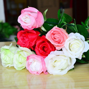 (30Pcs/lot) Free shipping European 66cm new wedding decoration sigle real touch artificial rose flower white pink red champagne
