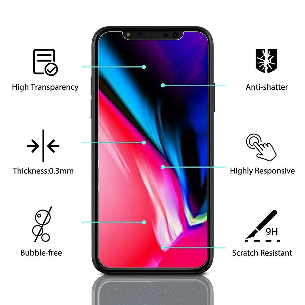 Ascromy For Apple iPhone XS Max Premium 9H Tempered Glass Screen Protector For iPhone X S XR 8 7 Plus 6 6S 8plus Protection Film (6)