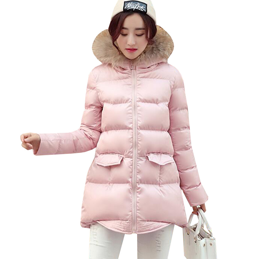 New Thick Hooded Cotton Padded Coat Autumn Winter Women Parka Jacket Female Fur Collar Medium Long Jackets Cloak Outwear AB463 new fashion print 2017 winter women down cotton medium long jacket parka female hooded fur collar size m 3xl outerwear coatcq560