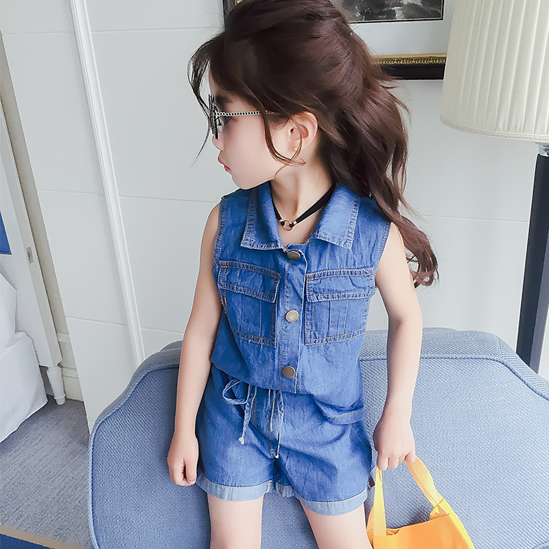 2 3 4 5 6 7 Year Girls Clothes Summer Denim color Style 2018 New Casual Children Clothing Set Sleeveless Tops Shorts Kids Suits yellow dino boy clothes set roar children t shirt plaid pant suit kids outfit 100% cotton tops panties 2 3 4 5 6 7 year clothing