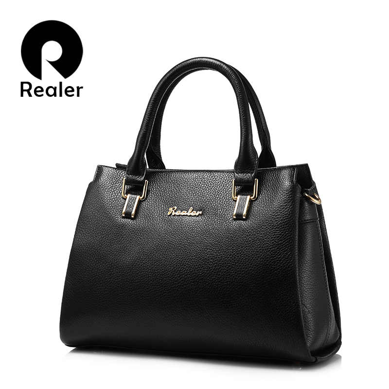 REALER brand women handbag genuine leather tote bag high quality cow leather shouder bag female saffiano