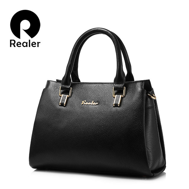 c62960cce710 US $36.77 19% OFF|REALER brand women handbag genuine leather tote bag high  quality cow leather shouder bag female saffiano top handle bag-in ...