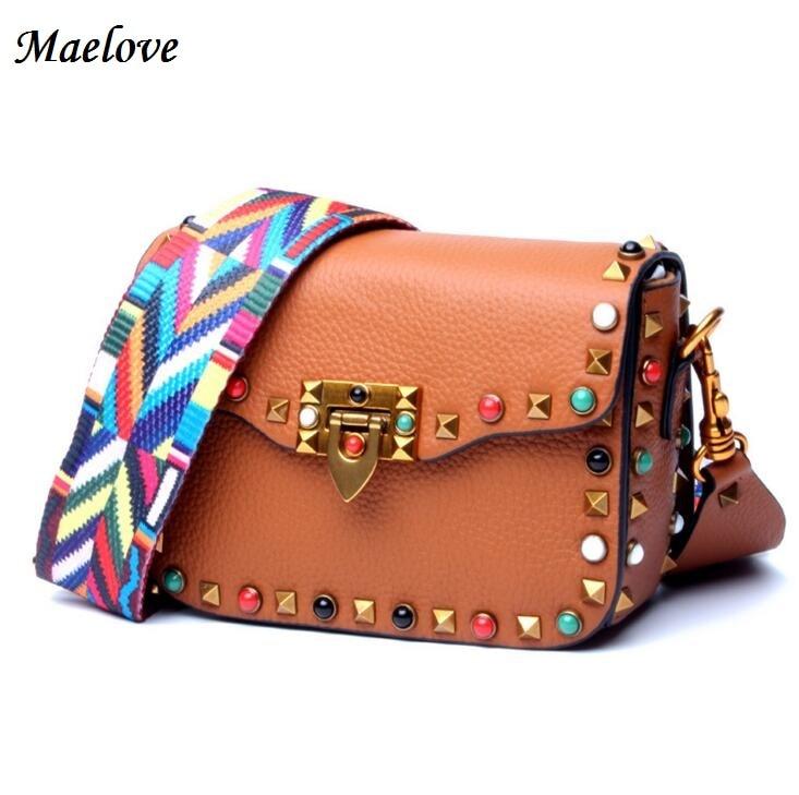 Maelove Luxury Brand Designer Rivets bag Women Genuine Leather handbag Wide Color Strap Shoulder Crossbody bag For Shopping