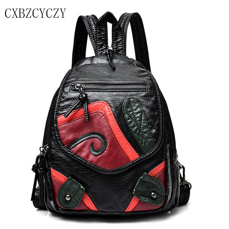 2017 Student Style Backpack Women PU Leather Female Backpacks For Teenage Girls School Bags Brand Shoulder