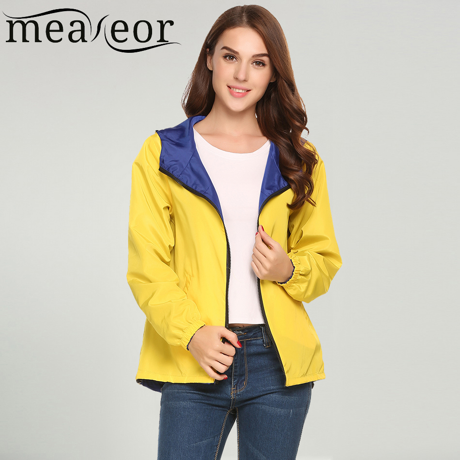 Meaneor Women's Spring Autumn Casual Hooded Two Sides Wear   Trench   Coat Long Sleeve Winter Front Zipper Pockets Wind Breaker