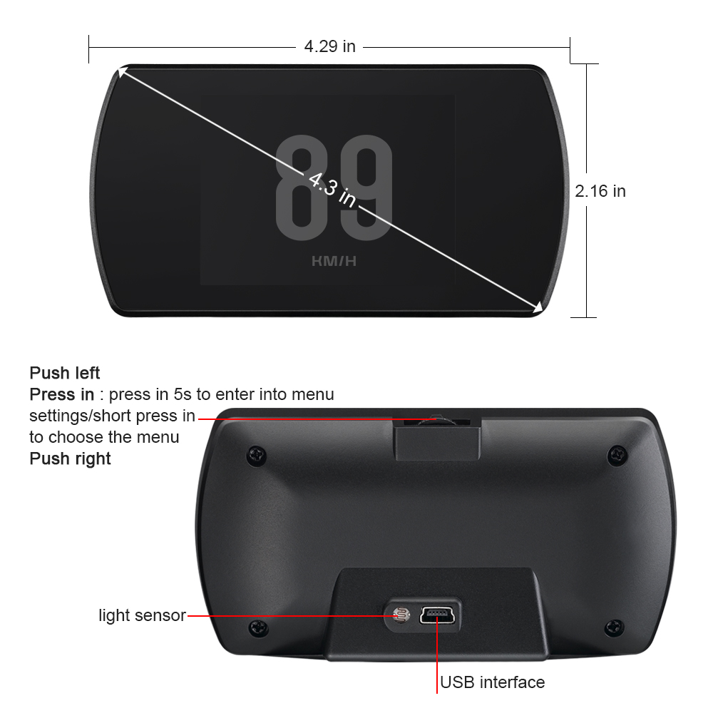 """Image 2 - GEYIREN T800 3.6"""" Screen On board Gps Car HUD GPS Head Up Display MPH Overspeed Warning Windshield Projector auto accessories-in Head-up Display from Automobiles & Motorcycles"""