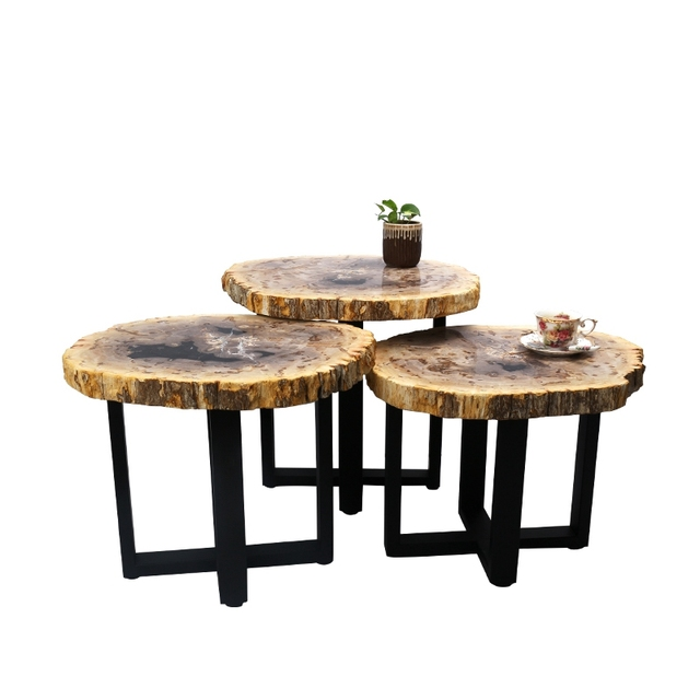 Natural Petrified Wood American Country Style Loft End Table Nesting Side  Table Home Furniture Garden Decoration