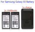 For Samsung Galaxy S5 Battery 2x 3500mAh Phone Replacement Batterie Portable Mini Backup With USB Wall Charger For i9600 Hot