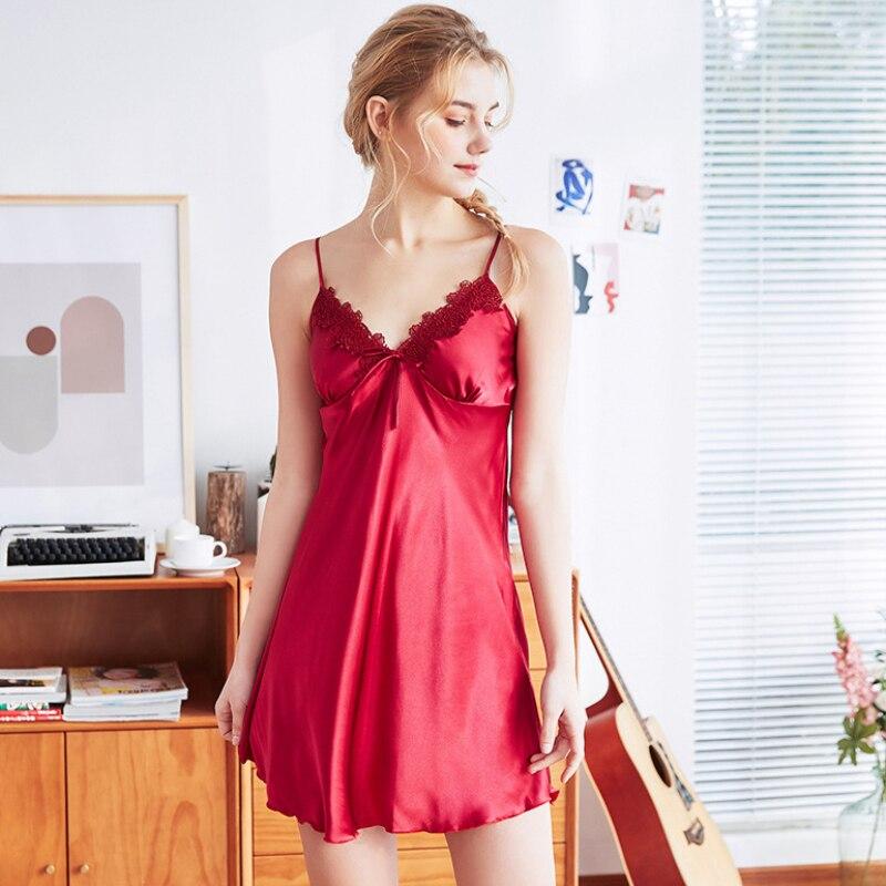 NG0337 2019 Women Nightgowns Sleepshirts Ladies Sleeveless Spaghetti Strap Sexy Night Gown Dress Female Mini Summer Sleepwear