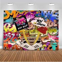 MEHOFOTO 90s Themed Backdrop Graffiti Hip Pop Party Background 7x5ft Vinyl We Love The Banner Decoration Supplies 185