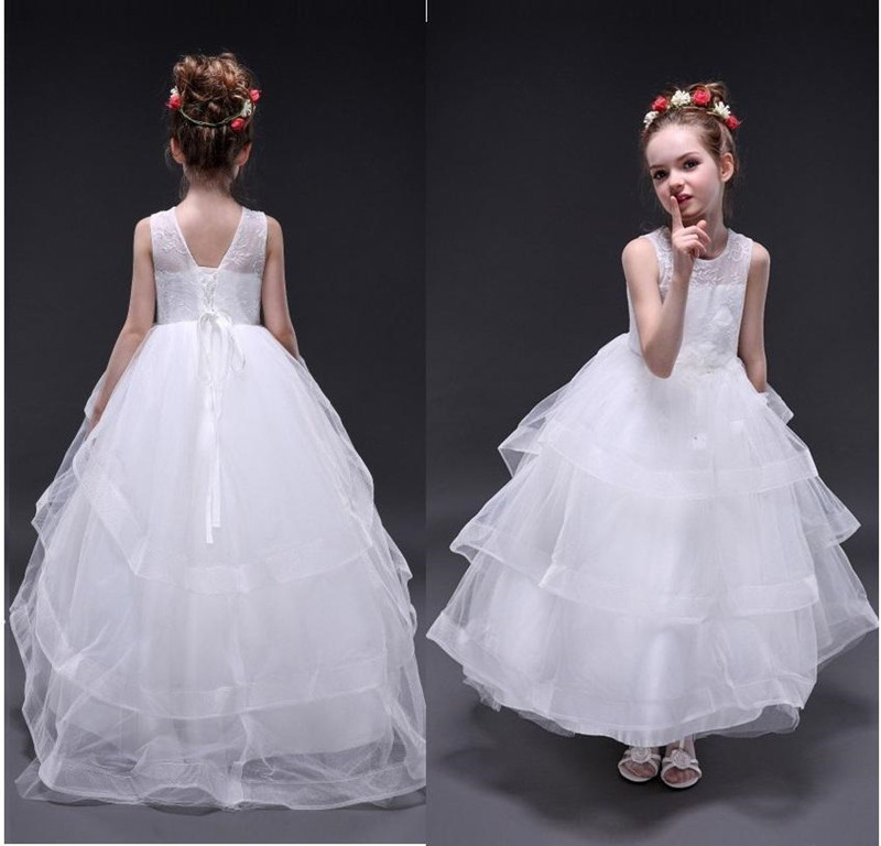 New Coming Holy First Communion Gowns Tiered Tulle Kids Prom   Dress   Lace Up Back Any Size And Any Color Long   Flower   Gril   Dress