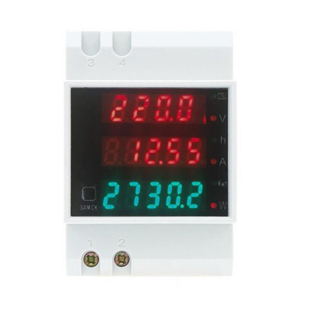 AC 80-300V 0-100A Ammeter Voltmeter Din Rail LED Volt Amp Meter Display Active Power Factor Time Energy Voltage Current Quality