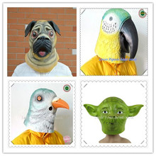 Halloween Party Cosplay Pug Dog Head Mask Cosplay Costume Party Latex Prop Animal Masks Pigeon Parrot Yoda Head Mask adults Toy