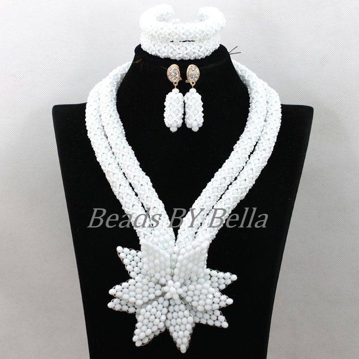 Plain White Crystal African Women Wedding Jewelry Sets Party Gifts New Handmade Flowers Beads Necklace Set Free Shipping ABK572Plain White Crystal African Women Wedding Jewelry Sets Party Gifts New Handmade Flowers Beads Necklace Set Free Shipping ABK572