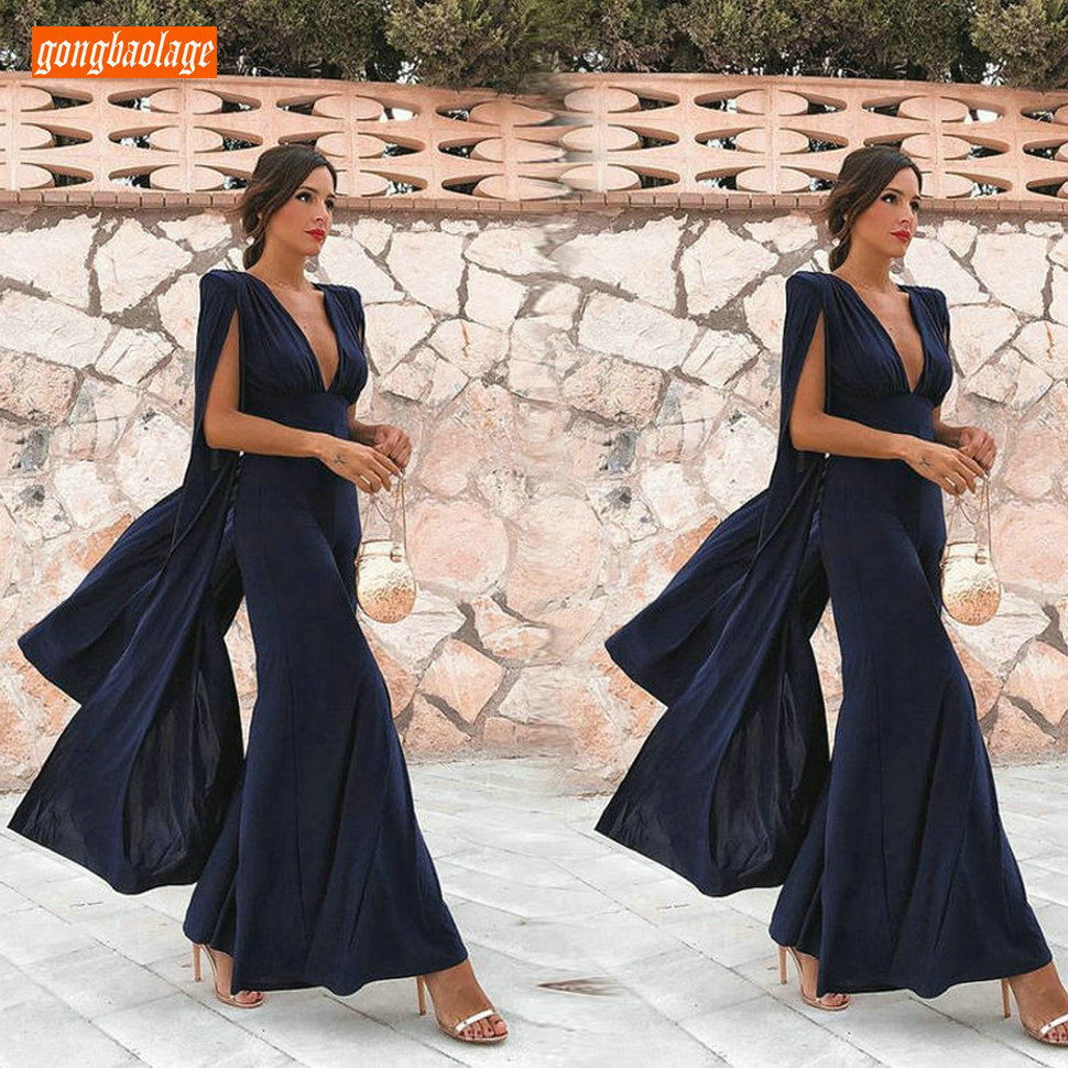 Charming Dark Navy Evening Dresses Long Formal Dress 2019 V-Neck Chiffon Cheap Evening Gowns For Women Special Occasion Dresses