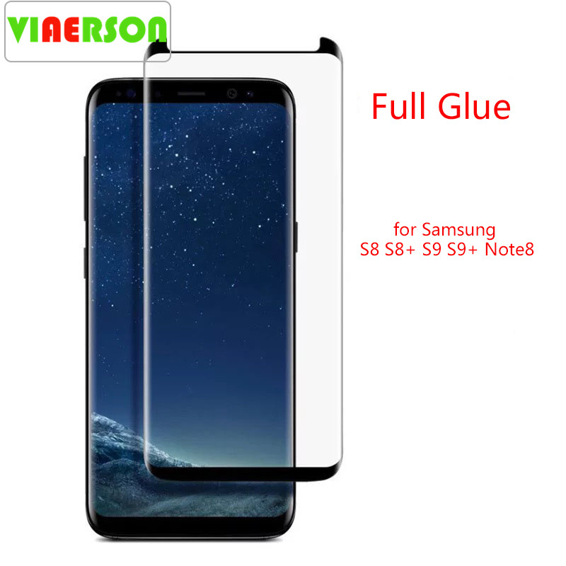 VIAERSON Full Glue Tempered Glass Protector For Samsung Galaxy S9 S9Plus S8 S8Plus Note8 S7edge Cell Film Screen Protector S9 S8