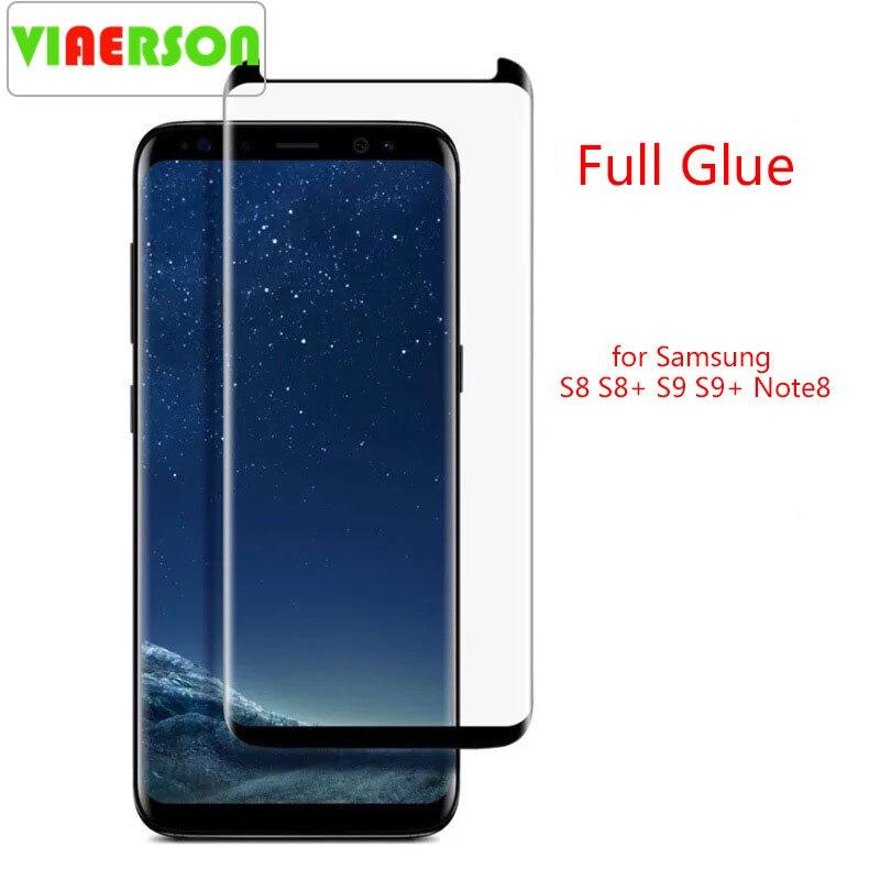 VIAERSON Volle Kleber Gehärtetem Glas Schutz Für Samsung Galaxy S9 S9Plus S8 S8Plus Note8 S7edge Zelle Film Screen Protector S9 s8