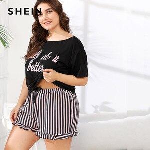 Image 4 - SHEIN grande taille femmes lettre imprimer t shirt et rayé Shorts pyjama ensembles à manches courtes t shirt avec volants ourlet Shorts ensemble de vêtements de nuit